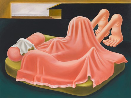 Louise Bonnet, Interior with Pink Blanket, 2019 Oil on linen, 72 × 96 inches (182.9 × 243.8 cm)© Louise Bonnet. Photo: Rob McKeever