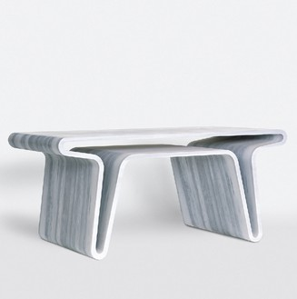 Marc Newson, Extruded Table 3, 2008 Striato Olimpico marble, 31 ½ × 70 ⅞ × 35 ⅜ inches (80 × 180 × 90 cm), edition of 10