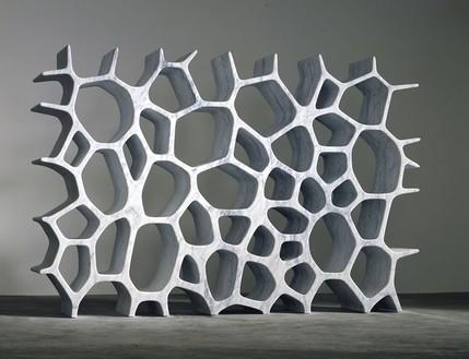 Marc Newson, Voronoi Shelf (white), 2006 White Carrara marble, 70 ⅞ × 110 3/16 × 15 11/16 inches (180.1 × 279.9 × 39.9 cm), edition of 8