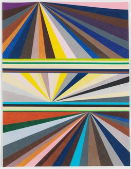 Mark Grotjahn, Untitled (Three-tiered Perspective), 1997 Color pencil on paper, 23 ½ × 18 inches (59.7 × 45.7 cm)© Mark Grotjahn