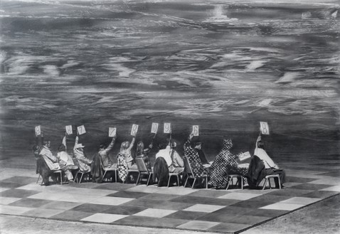 Mark Tansey, Judging, 1997 Graphite on paper, 40 ¼ × 59 ¾ inches (102.2 × 151.8 cm)© Mark Tansey
