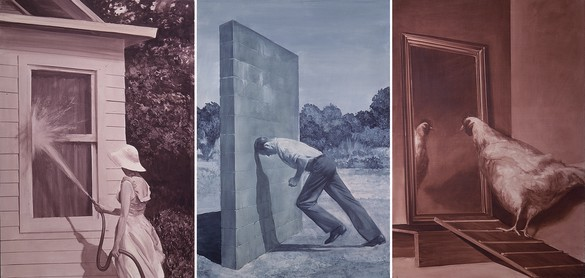 Mark Tansey, A Short History of Modern Painting (Triptych), 1982 Oil on canvas, overall: 58 × 120 inches (147.3 × 304.8 cm)© Mark Tansey