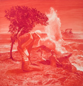 Mark Tansey, Epigene, 2008 Oil on canvas, 58 × 56 inches (147.3 × 147.2 cm)© Mark Tansey