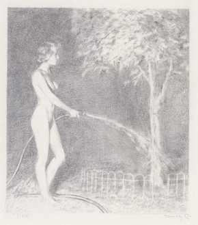 Mark Tansey, Eve, 1982 Pencil on paper, 6 ⅜ × 5 ½ inches (16.2 × 14 cm)© Mark Tansey