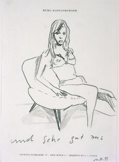 Martin Kippenberger, Untitled (Women and Chairs), 1993 Mixed media on Buro Kippenberger stationery, 18 ¾ × 15 ¼ inches (47.5 × 38.5 cm)