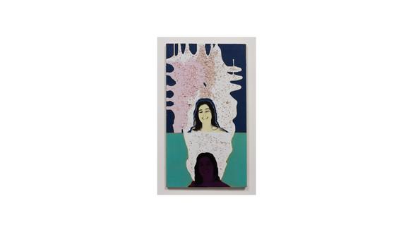 Mary Weatherford, Double Margaret, 1996 Seashells, acrylic oil, silkscreen, and Xerox transfer on canvas, 36 × 20 inches (91.4 × 50.8 cm)© Mary Weatherford Studio. Photo: Fredrik Nilsen Studio