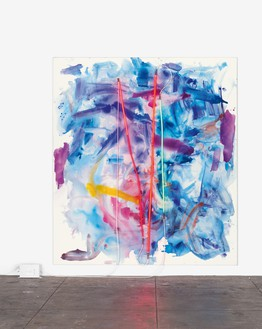 Mary Weatherford, dawn Channel, 2015 Flashe and neon on linen, 117 × 104 inches (297.2 × 264.2 cm)© Mary Weatherford Studio. Photo: Fredrik Nilsen Studio
