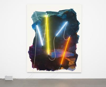Mary Weatherford, Coney Island II, 2012 Flashe and neon on linen, 103 × 83 inches (261.6 × 210.8 cm), Museum of Modern Art, New York© Mary Weatherford Studio. Photo: Jonathan Muzikar