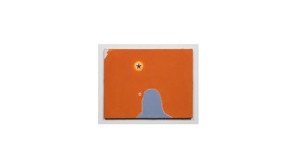 Mary Weatherford, Missing Margaret, 1995 Flashe and starfish on jute, 21 × 27 inches (53.3 × 68.6 cm)© Mary Weatherford Studio. Photo: Fredrik Nilsen Studio