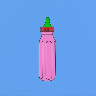 Michael Craig-Martin, Untitled (pink baby bottle), 2015 Acrylic on aluminum, 23 ⅝ × 23 ⅝ inches (60 × 60 cm)© Michael Craig-Martin, photo by Mike Bruce