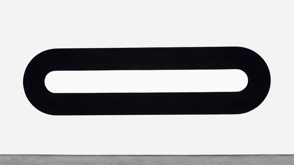 Michael Heizer, Track Painting, 1967 Polyvinyl latex on canvas, 4 feet 7 ⅛ inches × 16 feet 5 inches (1.4 × 5 m)© Michael Heizer