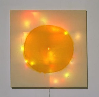 "Mike Kelley, Twinkling Coppers (from ""Plato's Cave, Rothko's Chapel, Lincoln's Profile""), 1986 Acrylic on canvas with penny and string of multicolored flashing electrical Christmas lights, 60 × 60 × 3 ⅜ inches (152.4 × 152.4 × 8.6 cm)© Mike Kelley Foundation for the Arts. All rights reserved/Licensed by VAGA, New York. Photo: © Douglas M. Parker Studio"