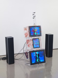 Nam June Paik, TV Cello, 2003 Single-channel video with 20-inch LCD monitor, 15-inch LCD monitor, and 13-inch CRT monitor, 64 ½ × 21 ½ × 23 inches (163.8 × 54.6 × 58.4 cm)© Nam June Paik Estate. Photo: Rob McKeever