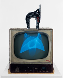 Nam June Paik, Magnet TV, 1965 Television (black and white, silent) with magnet, 28 ⅜ × 19 ¼ × 24 ½ inches (72 × 48.9 × 62.2 cm), Whitney Museum of American Art, New York© Nam June Paik Estate
