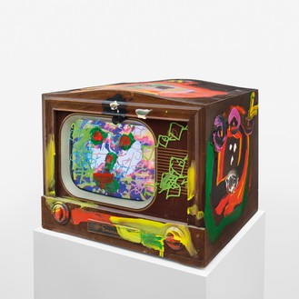 Nam June Paik, Third Eye Television, 2005 Single-channel video (color, sound) in a vintage television with permanent oil marker and acrylic, 17 ½ × 20 ¾ × 18 ¾ inches (44.5 × 52.7 × 47.6 cm)© Nam June Paik Estate
