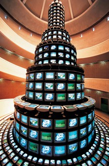 Nam June Paik, The More the Better, 1988 Three-channel video (color, sound) with 1,003 monitors and steel structure, approximately 60 feet (18.3 m) tall, National Museum of Modern and Contemporary Art, Seoul© Nam June Paik Estate