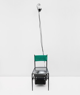 Nam June Paik, TV Chair, 1968 Closed-circuit video (black and white) with television and chair with Plexiglas seat, 33 × 17 × 15 inches (83.2 × 43.2 × 38.1 cm)© Nam June Paik Estate