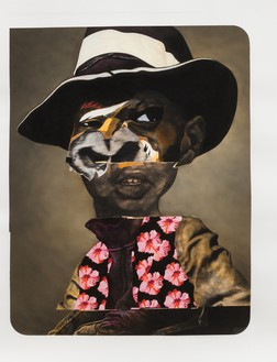 Nathaniel Mary Quinn, Charles Re-Visited, 2015 Charcoal, soft pastel, oil pastel, paint stick, and gouache on Coventry vellum paper, 50 × 38 inches (127 × 96.5 cm)© Nathaniel Mary Quinn