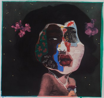 Nathaniel Mary Quinn, Diane, 2014 Charcoal, oil pastel, oil paint, paint stick, and gouache on Lenox paper, 37 × 37 inches (94 × 94 cm)© Nathaniel Mary Quinn