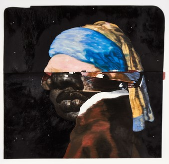 Nathaniel Mary Quinn, Erica with the Pearl Earring, 2015 Charcoal, gouache, soft pastel, oil pastel, oil paint, and paint stick on Coventry vellum paper, 25 ½ × 25 ½ inches (64.8 × 64.8 cm)© Nathaniel Mary Quinn