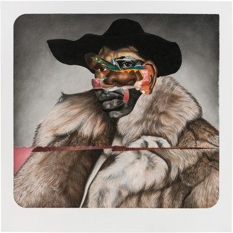 Nathaniel Mary Quinn, Buck Nasty: Player Haters Ball, 2017 Charcoal, gouache, soft pastel, oil pastel, and acrylic gold powder on Coventry vellum paper, 35 × 34 ½ inches (88.9 × 87.6 cm)© Nathaniel Mary Quinn