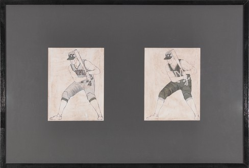 Neil Jenney, Rejected Mets Uniform by Neil Jenney, 1985 Ink on paper, in 2 parts, each: 10 ¾ × 8 ¼ inches (27.3 × 21 cm)© Neil Jenney