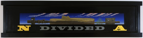 Neil Jenney, North America Divided, 1992–99 Acrylic on panel, in artist's frame, 39 ¼ × 152 ½ × 3 ¾ inches (99.7 × 387.4 × 9.5 cm)© Neil Jenney