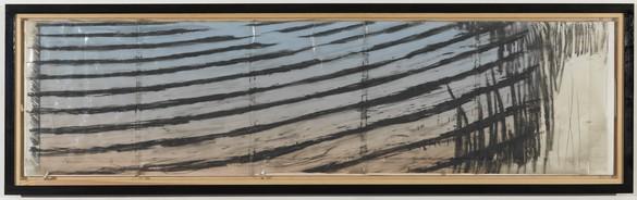 Neil Jenney, Study for Acidify, 1982 Grease stick on acetate, 31 ¼ × 102 ¼ inches (79.4 × 259.7 cm)© Neil Jenney