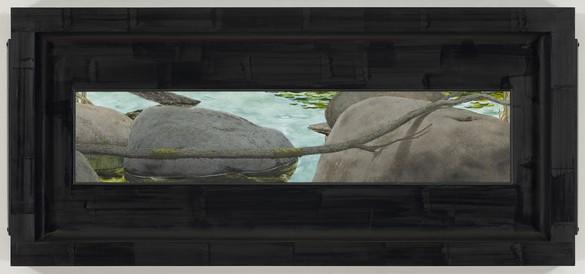 Neil Jenney, Ozarkia, 2014 Oil on canvas, in artist's frame, 28 × 64 × 3 ⅜ inches (71.1 × 162.6 × 8.6 cm)© Neil Jenney
