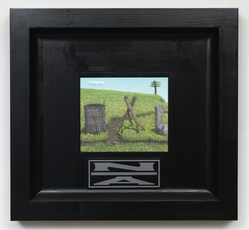Neil Jenney, North America Divided, 2001–06 Oil on wood, in artist's frame, 26 ¼ × 28 ¼ × 2 ¾ inches (66.7 × 71.8 × 7 cm)© Neil Jenney