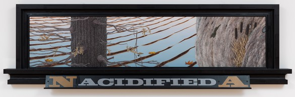 Neil Jenney, North America Acidified, 2013 Oil on wood, in artist's frame, 34 × 115 ⅜ × 5 inches (86.4 × 293.1 × 12.7 cm)© Neil Jenney