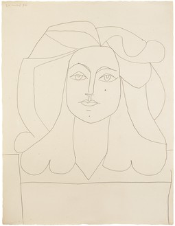 Pablo Picasso, Portrait de Françoise, May 20, 1946 Graphite on paper, 26 × 19 ¾ inches (65.8 × 50.5 cm)© 2018 Estate of Pablo Picasso/Artist Rights Society (ARS), New York