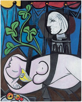 Pablo Picasso, Femme nue, feuilles et buste, 1932 Oil on canvas, 63 ¾ × 51 ¼ inches (162.1 × 130 cm)© 2018 Estate of Pablo Picasso/Artist Rights Society (ARS), New York