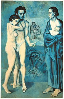 Pablo Picasso, La vie, 1903 Oil on canvas, 77 ⅜ × 50 ⅞ inches (196.5 × 129.2 cm), Cleveland Museum of Art© 2018 Estate of Pablo Picasso/Artist Rights Society (ARS), New York