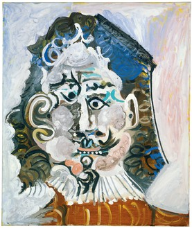 Pablo Picasso, Tête d'homme du XVIIème siècle de face, April 2, 1967 Oil on canvas, 25 ½ × 21 ½ inches (65 × 54.5 cm)© 2018 Estate of Pablo Picasso/Artist Rights Society (ARS), New York