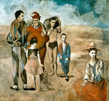 Pablo Picasso, La famille de saltimbanques, 1905 Oil on canvas, 83 ¾ × 90 ⅜ inches (212.8 × 229.6 cm), National Gallery of Art, Washington, DC© 2018 Estate of Pablo Picasso/Artist Rights Society (ARS), New York