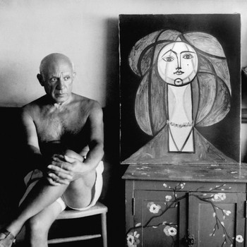 A portrait photograph of Pablo Picasso