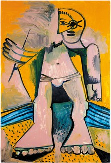 Pablo Picasso, Personnage, August 14, 1971 Oil on canvas, 76 ¾ × 51 ¼ inches (195 × 130 cm)© 2018 Estate of Pablo Picasso/Artist Rights Society (ARS), New York