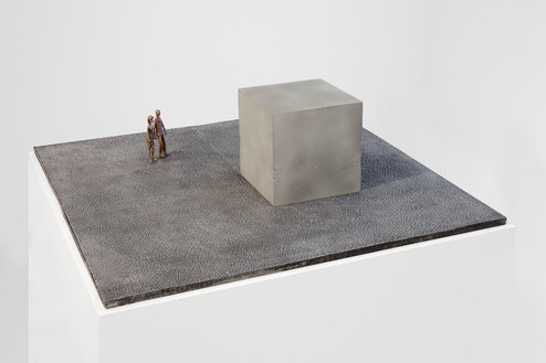 Piero Golia, Gold and Concrete Cube at the Venice Biennale, 2013 Bronze, tin, and anodized aluminum, 30 × 30 × 8 inches (76.2 × 76.2 × 20.3 cm)