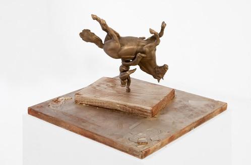 Piero Golia, Upside down equestrian figure as public sculpture, 2013 Bronze and copper, 13 × 13 × 8 inches (33 × 33 × 20.3 cm)