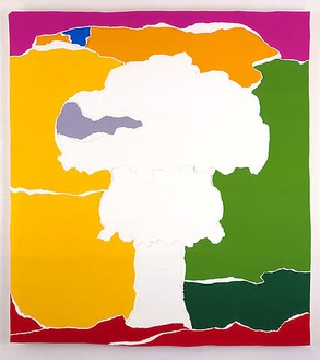 Piotr Uklański, Untitled (The Bomb), 2004 Gouache on Lanaquarelle paper collage, torn and pasted on plywood, 132 × 120 inches (335.3 × 304.8 cm)