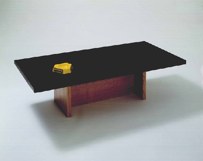 Richard Hamilton, Table with Ashtray, 2002 Slate, oak, brass and glass, 51 3/16 × 23 ⅝ × 13 inches (130 × 60 × 33 cm)