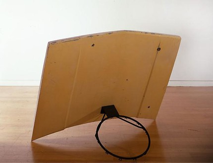 Richard Prince, Nine Yards, 2008 Carhood, basketball hoop, plywood, and bondo, 42 ½ × 31 × 56 inches (108 × 78.7 × 142.2 cm)