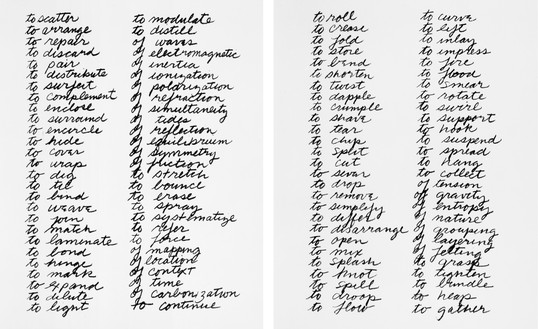 Richard Serra, Verb List, 1967–68 Graphite on paper, 2 sheets, each: 10 × 8 ½ inches (25.4 × 21.6 cm), Museum of Modern Art, New York© 2018 Richard Serra/Artists Rights Society (ARS), New York
