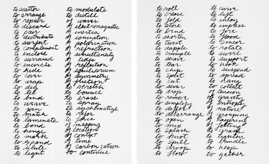 Richard Serra, Verb List, 1967–68 Graphite on paper, 2 sheets, each: 10 × 8 ½ inches (25.4 × 21.6 cm), Museum of Modern Art, New York© 2018 Richard Serra/Artists Rights Society (ARS), New York