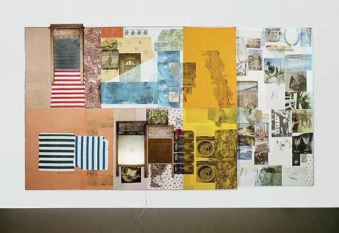 Robert Rauschenberg, Palladian Xmas (Spread), 1980 Solvent transfer, acrylic, fabric and collage on wood panel, 74 ¼ × 133 ¾ × 7 ½ inches (188.6 × 339.7 × 19 cm)