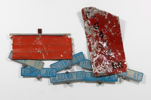 Robert Rauschenberg, Freeway Glut, 1986 Riveted and painted metal, 51 15/16 × 90 15/16 × 6 5/16 inchs (132 × 231 × 16 cm)© The Robert Rauschenberg Foundation 2014/Licensed by VAGA, New York, photo by Tom VanEynde