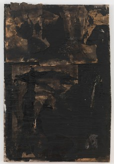Robert Rauschenberg, Untitled, c. 1952 Paint and newspaper on primed cotton duck, 55 ⅛ × 36 ¾ inches (140 × 93.3 cm)© The Robert Rauschenberg Foundation 2013/Licensed by VAGA, New York, photo by Rob McKeever