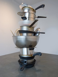 Robert Therrien, No title (pots and pans II), 2008 Metal and plastic, 108 × 66 × 80 inches (274.3 × 167.6 × 203.2 cm)© Robert Therrien/Artists Rights Society (ARS), New York