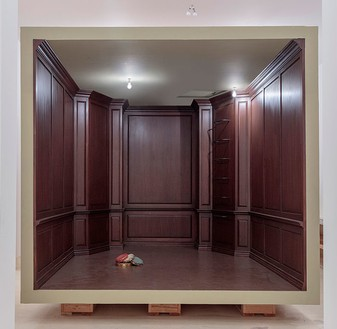 Robert Therrien, No title (paneled room), 2017 Wood and mixed media, 129 ¾ × 186 ⅝ × 139 ⅛ inches (329.6 × 474 × 353.4 cm)© Robert Therrien, photo by Joshua White